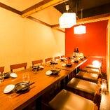 接待・会食に最適な完全個室は和のプライベート空間。