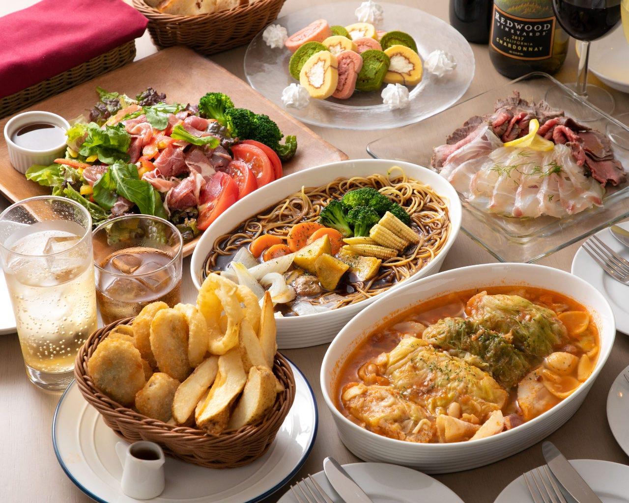 【2時間飲み放題付】デザートまで楽しめるパーティーコース<全7品>歓送迎会・ご宴会(大皿料理提供)