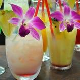 南国ハワイを思わせるトロピカルカクテルは定番からスムージー使用、ノンアルコールトロピカルカクテルなどご用意しております。