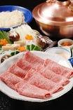 【特選仙台牛しゃぶしゃぶ ¥11,000】 A5ランクの仙台牛の中でも親方が選んだ最上の部分をお出ししています。極上のとろとろ霜降りの仙台牛を三太郎秘伝の胡麻ダレで是非ご賞味下さい。