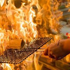 豪快な炎は美味しさの秘訣!