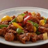 3:鶏唐揚げの黒胡椒炒め