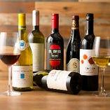 ワインはグラスを15種類以上&ボトルを60種類以上ご用意