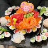 サプライズの演出承ります♪オリジナルの寿司ケーキ★