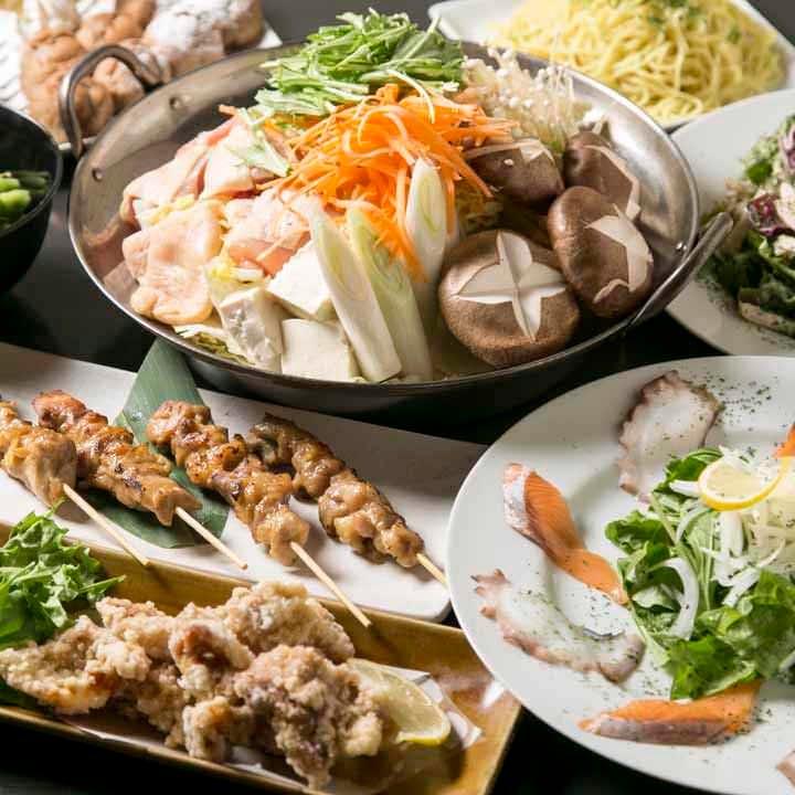 ◆【2時間飲み放題付】海鮮カルパッチョ、揚げ物2種盛合わせ『福結びコース(鍋なし)』[全7品]