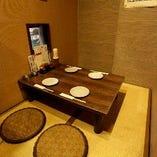 テーブル席や掘りごたつ席など大小宴会に最適な落ち着いた空間