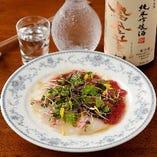 マグロと真鯛の合い盛りカルパッチョ