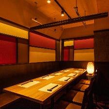 落ち着きある雰囲気の和空間個室