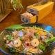 パスタ料理「枯本節削りと小エビのレモントマトソースパスタ」
