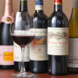 料理に合うワインを常時5種類以上ご用意。リストはスタッフまで