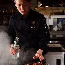 【接待・お祝い・記念日に】YANAGIサーロインステーキのコース 新ひだか黒毛和牛「こぶ黒」 13000円