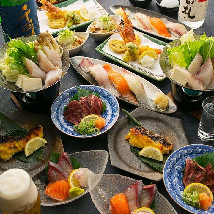 「春の味覚 満喫コース」は海鮮主体! 寿司もついて4,000円!