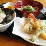 ネギトロ丼&天ぷら定食
