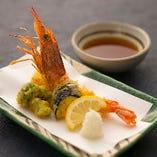 有頭海老と冬野菜の天ぷら