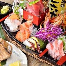 朝採れ鮮魚を刺身・寿司・原始焼きで