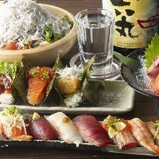 新鮮な魚介を使用したお寿司に舌鼓