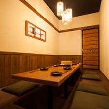 個室完備。大切なお席に最適です。