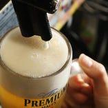 クリーミーな泡のビールは喉越しも抜群