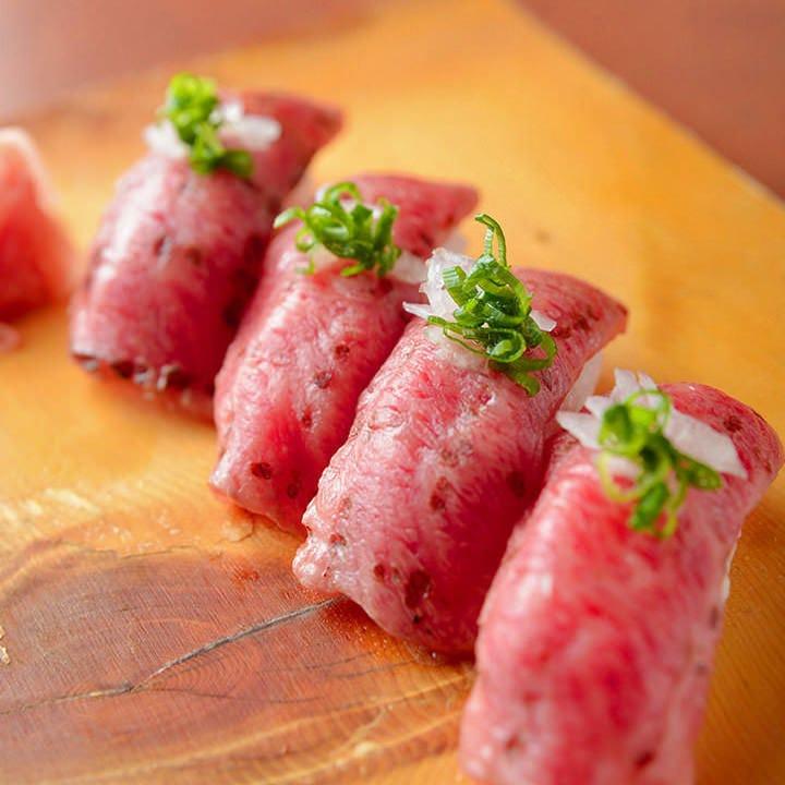 牛トロ炙り寿司は、『上撰コース』以上でご用意いたします