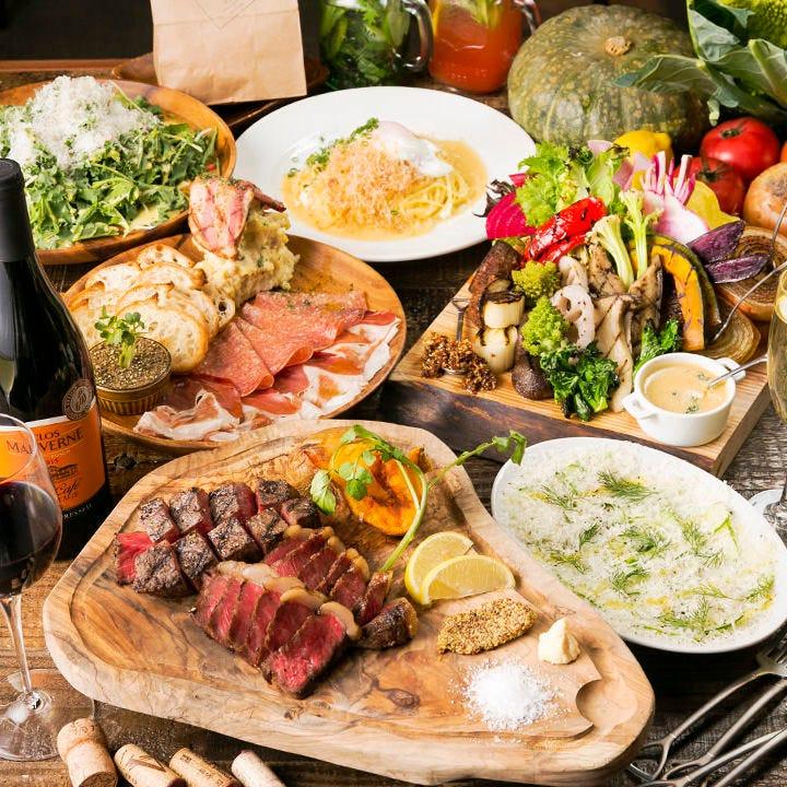 自慢の肉料理や野菜をたっぷり味わう