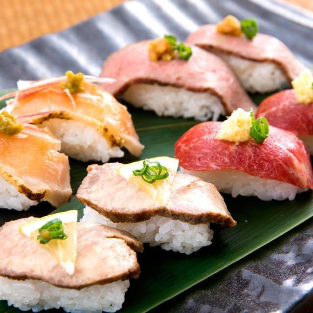冬宴会【お席ゆったり♪】《肉の寿司×鮮魚盛り合わせ×もつ鍋コース》9品+2時間飲み放題4000円