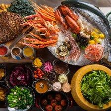 国際色豊かな料理が並ぶブッフェ