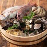 姫路・播磨・播州など近海産を中心に、熟練の目利きが選び抜いた、鮮度抜群の魚介を毎朝仕入れています