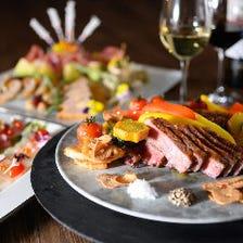 <割引中>飲み放題付『パーティープラン スタンダード』ステーキとカルパッチョ、ビーフカツサンドなど5皿