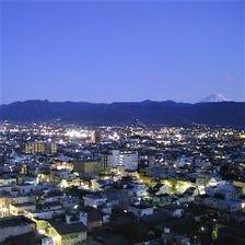 ホテル最上階から眺める甲府盆地
