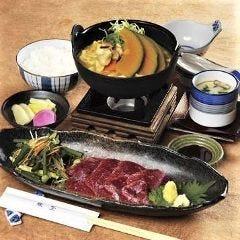 風林火山膳(馬刺し・ほうとう・ご飯のセット)