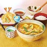 【純和鶏】カレーうどん天ぷら定食