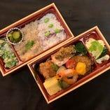 天麩羅とハンバーグ季節の2種ご飯弁当