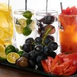フレッシュな果実や野菜を丸ごと味わうスーパー生サワーが人気♪