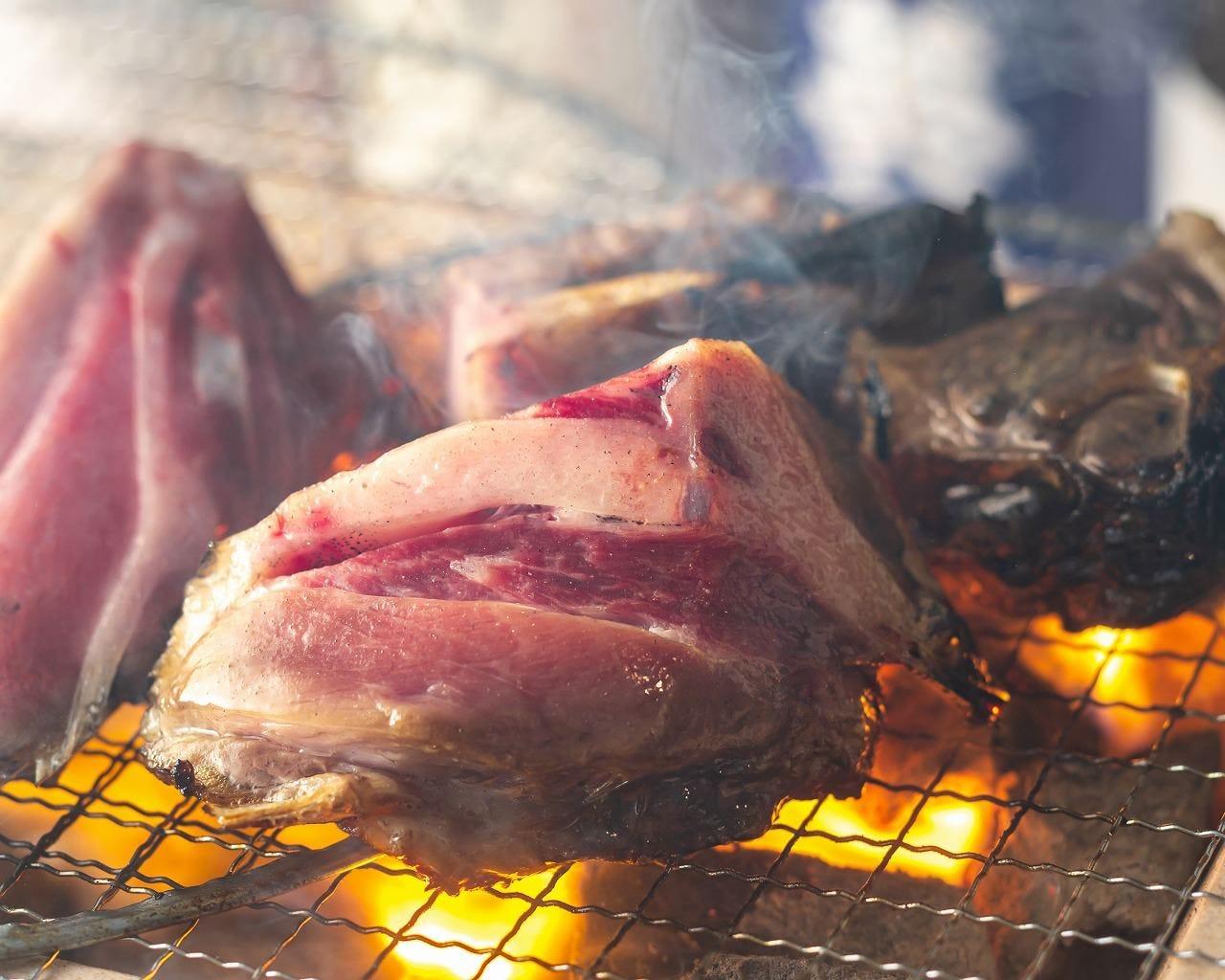 炭火で焼き上げる魚介や肉を堪能