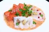 3種の魚介のカルパッチョ ガスパチョのソース