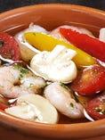 小海老と野菜のアヒージョ