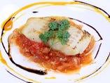 白身魚のロースト オレンジとバルサミコ・2種のソース
