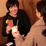 女性好みのカクテルやオリジナルなお酒も豊富に揃えております!