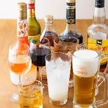 ハイボールやビールなどの定番メニューからこだわりのお酒まで、幅広くラインナップ。