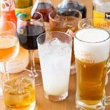 飲み放題のドリンクメニューは、生ビール、梅酒、日本酒、焼酎、ハイボール、サワー、ソフトドリンクからお好きなものをお選びいただけます。