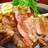 200g牛リブアイステーキ ジューシーさと赤身の旨味感が絶妙なステーキです。ガッツリとどうぞ。