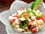 ペルー料理 セビーチェ スパイシーなシーフードマリネです。