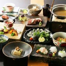 基本懐石『真朱(まそほ)』名物出汁鍋と鹿児島牛ステーキ、旬の上質食材を堪能。接待や大切な会食にも最適