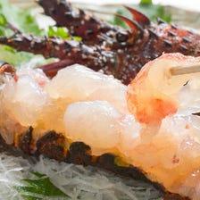 活 伊勢海老 「活」ならではの美味しさを、刺身、焼物、天婦羅などで存分に御堪能頂けます。
