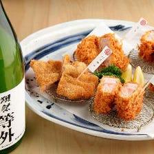 とんかつによく合う厳選日本酒が豊富