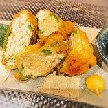 旬野菜の鶏ミンチはさみ揚げ
