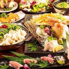 【囲特別コース】昆布締め牛タン/鮮魚盛り合わせ2h飲み放題付<全11品>7000円→6000円  (税別)