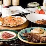 がっつりステーキと旬のお魚がついたおまかせコース 2時間飲み放題付き 男性4,500円 女性4,000円
