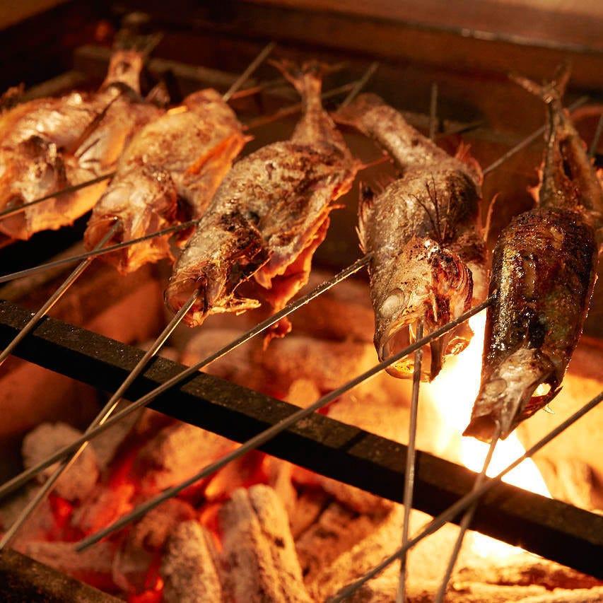 地魚・野菜を土佐備長炭で炙り焼き