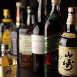 バーボン・スコッチ・ジャパニーズ。居酒屋ではなかなかお目にかかれない種類豊富な多彩さが、ご好評いただいています